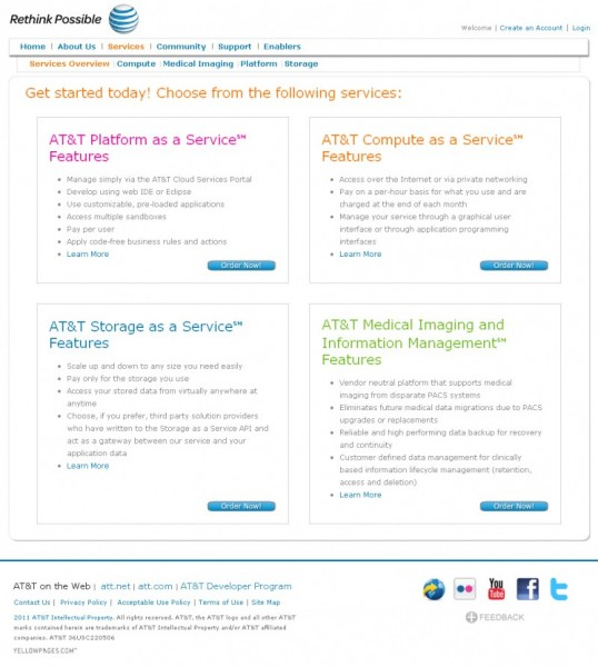 At&t Cloud Services Web Offerings Site Design